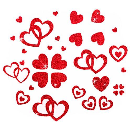 Oblique-Unique 100 Stück Herzen Sticker in Rot, Gold oder Silber - Glitter Glitzernde Herzen (Rot)