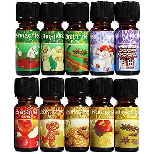 com-four® 10x différentes huiles parfumées - Parfum d'ambiance Noël - Huile de Parfum pour diffuseurs d'arômes, assainisseurs d'air, évaporateurs d'eau, humidificateurs d'air (10 pièces - Noël)