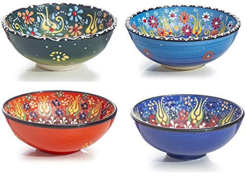 Keramik Schalen 4er Set - Schalen für Tapas, Sushi, Dessert, Vorspeisen, Dips, Süßigkeiten, kleine Früchte, Nüsse, Eiscreme, Reis - Bunte Home Decorative Marokkanisch Spanisch Türkisch Mexikanisch