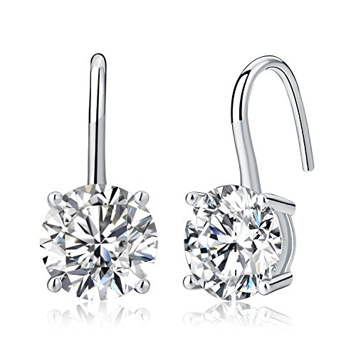 Diamond Treats 925 STERLING SILVER Earrings with 8mm Single Round Hanging Bright White Cubic Zirconia. The Fish Hook Dangly Silver Drop Earrings are a Lovely Gift for Her.