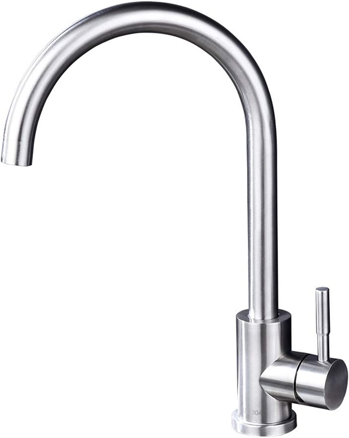 JIANGYE Single Handle High Arc Brushed 360 degree redation Kitchen Faucet Lead free 304 Stainless Steel Kitchen Sink Faucets balcony hot and cold water basin