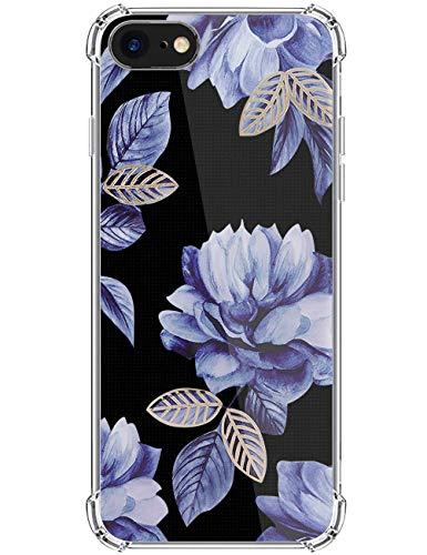 kinnter Kompatibel mit iPhone SE (2020) Hülle Transparent Silikon Handyhülle Ultra Dünn TPU Bumper Stoßfest Schutzhülle Original Design für iPhone SE (2020) Tasche Cover