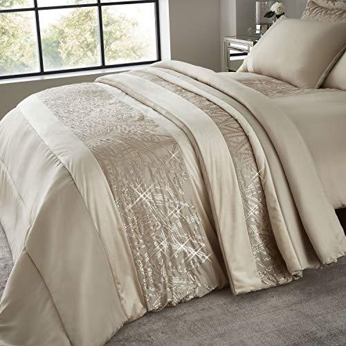Catherine Lansfield Velvet Sparkle Tagesdecke, 100prozent Polyester, champagnerfarben, Bedspread-220x230cm