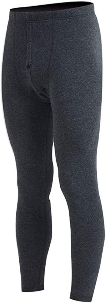Men's Fleece Lined Thermals Bottom Long Johns Underwear Base Layer Soft Thick Dark Grey L