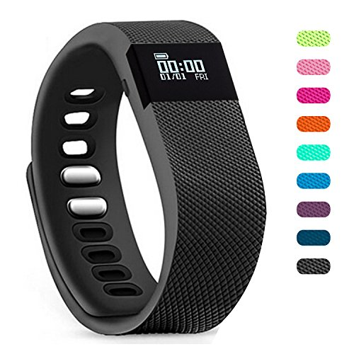 Teslasz Fitness Tracker, Sleep Monitor Calorie Counter Pedometer Sport Activity Tracker for Android and iOS Smart Phone (Dark)