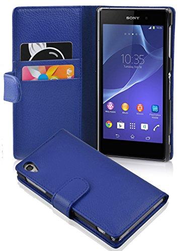 Cadorabo Funda Libro para Sony Xperia Z2 en Azul Real - Cubierta Proteccíon de Cuero Sintético Estructurado con Tarjetero y Función de Suporte - Etui Case Cover Carcasa