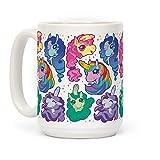 LookHUMAN Unicorn Penis Pattern White 15 Ounce Ceramic Coffee Mug
