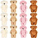 12 Piece 2.36 Inches Mini Joint Bear Stuffed Animal Plush Toys Mini Stuffed Animals Bears for Wedding Present Box Doll Toy Stocking Christmas Toys Christmas Trees Toys Accessories