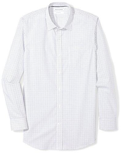 Amazon Essentials Slim-fit Wrinkle-resistant Long-sleeve Plaid Dress Shirt Smoking Hemd, (Blue Tattersall, Herstellergröße: 15.5
