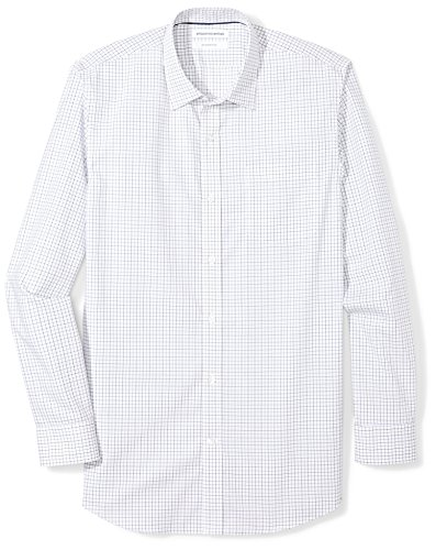 Amazon Essentials Men's Slim-Fit Wrinkle-Resistant Long-Sleeve Dress Shirt, Blue Tattersall Plaid, 14.5