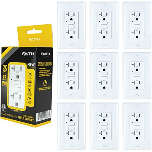 Faith [10-Pack] 20A WR TR GFCI Outlets Slim, Weather Resistant Tamper-Resistant GFI Duplex Receptacles with LED Indicator, Self-Test Ground Fault Circuit Interrupter with Wall Plate, ETL Listed, White