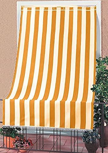 eurostile Tenda da Sole a Righe per Balcone Veranda o Terrazzo con Anelli e Ganci Tessuto Resistente da Esterno Misura cm 150x250 Colore Arancio Bianco