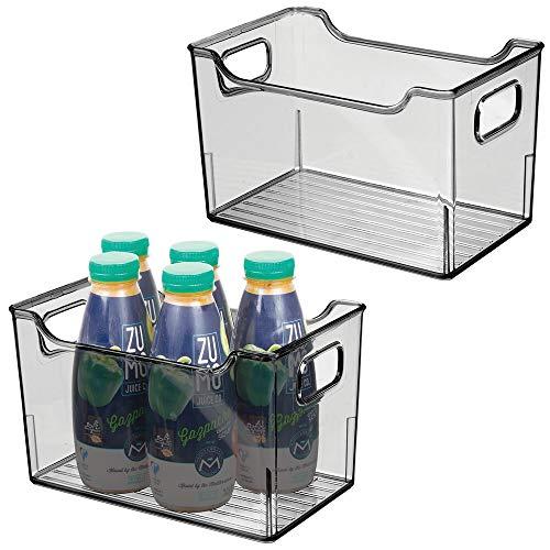 mDesign Juego de 2 fiambreras para el frigorífico – Cajas de plástico para guardar alimentos – Organizador de nevera para lácteos, frutas y otros alimentos – gris humo