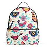 Mochila para mujer, diseño de pájaros y flores, para adolescentes y niñas, bolso de moda, para viajes, colegio, informal, para niños y niñas