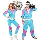 Widmann 98872 - Kostüm 80er Jahre Trainingsanzug, Jacke und Hose, angenehmer Tragekomfort, Assi Anzug, Proll Anzug, Retro Style, Bad Taste Party, 80ties,...