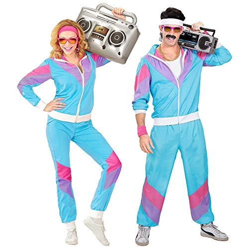 Widmann 98872 - Kostüm 80er Jahre Trainingsanzug, Jacke und Hose, angenehmer Tragekomfort, Assi Anzug, Proll Anzug, Retro Style, Bad Taste Party, 80ties, Karneval