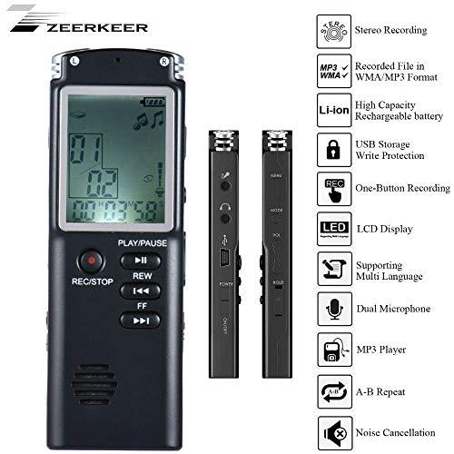 ZEERKEER Digitaler Voice Recorder, Wiederaufladbar Tragbar Hochwertiges Diktiergerät Funktion für Lautsprecher, MP3-Player Klassenzimmer, Konferenzen, Referenzen oder Unterrichtsräume
