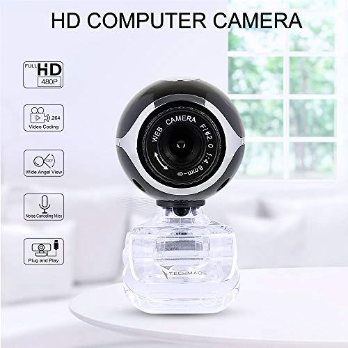 TaiRi Cámara web para computadora 480P HD, cámara de escritorio para PC HD con micrófono de absorción Cámara para computadora USB, para PC / computadora portátil