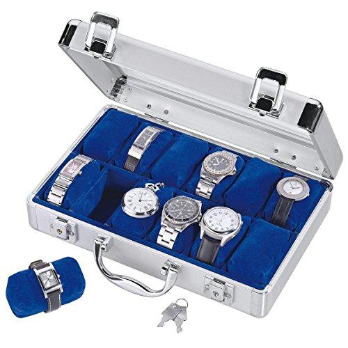 SAFE 265 aluminium horlogeopbergdoos voor heren, met 12 horloge-sieradenhouders in koningsblauw fluweel, afsluitbare horlogedoos met glazen deksel en afneembaar horlogekussen