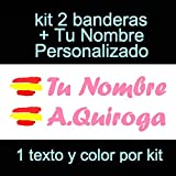 Vinilin Pegatina Vinilo Bandera España + tu Nombre - Bici, Casco, Pala De Padel, Monopatin, Coche, Moto, etc. Kit de Dos Vinilos (Rosa)
