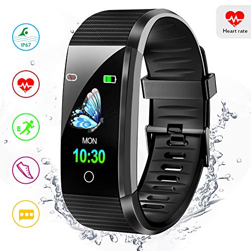 Amerzam Fitness Tracker Activity Tracker Smart Bracelet with Heart Rate Monitor Sleep Monitor Step Counter Waterproof Smart Watch for Women Men,Android iOS Phones Black