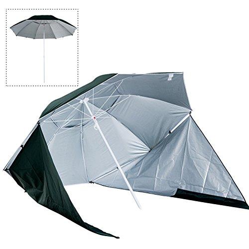 Outsunny Sombrilla de Playa con Paneles Laterales Tipo Tienda Parasol para Protección de Rayos UV Φ210x222cm Verde