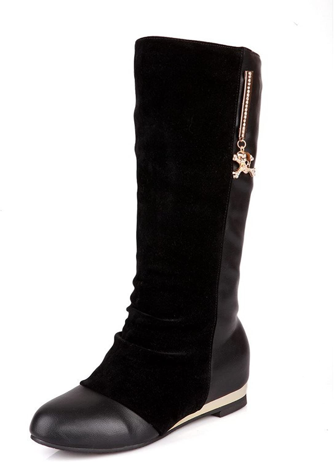 WeenFashion Womens Round Toe Kitten Heels Frosted Solid Boot with Glass Diamond, Black, 7 B(M) US