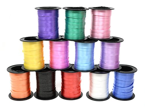 Assorted Colors Curling Ribbon 60 Feet Per Roll for Gift Wrapping Art and Crafts and All Occasions - 12 Rolls Per Pack