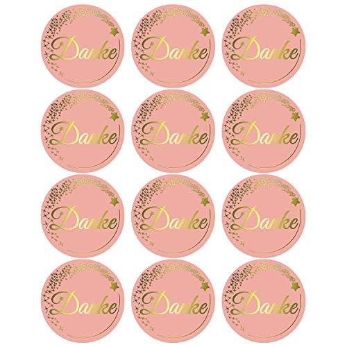 Oblique Unique® 12 Sticker zum Danke Sagen Aufkleber für Hochzeit Jugendweihe Konfirmation Gastgeschenk Geschenkdeko - wählbar (Rose - Danke)