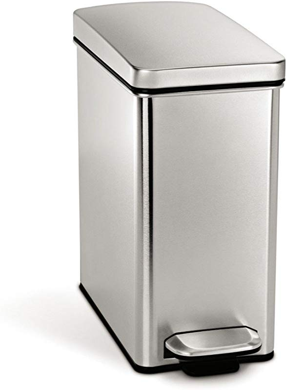 Simplehuman 10 Liter 2 6 Gallon Stainless Steel Bathroom Slim Profile Trash Can Brushed Stainless Steel