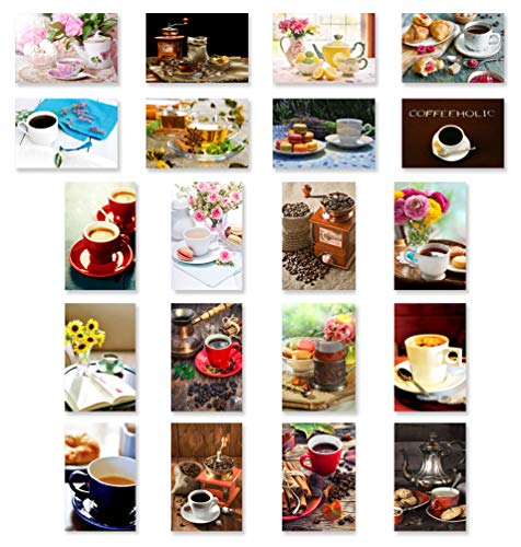 COFFEE, TEA & CAKES postcard set of 20. Post card variety pack with coffee and tea drinking theme postcards. Made in USA.