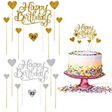 WELLXUNK Birthday Topper Decoración, 28 Piezas Cupcake Toppers, Birthday Cake Decorations, Cake...