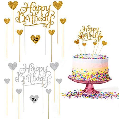 WELLXUNK Birthday Topper Decoración, 28 Piezas Cupcake Toppers, Birthday Cake Decorations, Cake Topper cumpleaños, para Niños Ducha de Bebé Fiesta de Cumpleaños DIY Decoración Suministros