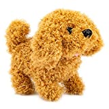 Plush Puppy Dog, Electronic Interactive Toy Walking,Barking,Wagging Tail,Stretching Puppy Dog 7 Inches Gifts for Kids (Teddy Dog)