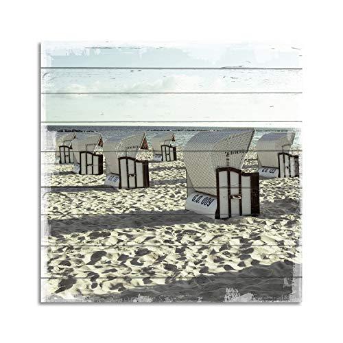 Cuadros Lifestyle Wandbild aus Holz | Holzbild | Shabby-Look | Landhaus | Strand | Strandkörbe | Vintage | Geschenk, Größe:ca. 50x50 cm