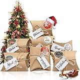 Aitsite24 Cajas de Regalo Navidad, Bolsa para Calendario de Adviento, Navidad Bolsas de Regalo con 24 Pegatinas para Navidad, Fiesta, Decoración de Regalos DIY Calendarios Adviento