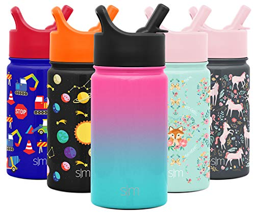 Simple Modern 14oz Summit Kids Water Bottle Thermos with Straw Lid - Dishwasher Safe Vacuum Insulated Double Wall Tumbler Travel Cup 18/8 Stainless Steel - Ombre: Sorbet