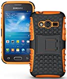 NAKEDCELLPHONE NEON Orange Grenade Grip TPU Skin Hard CASE Cover Stand for Samsung Galaxy ACE-4 (Lite G313 G313H)