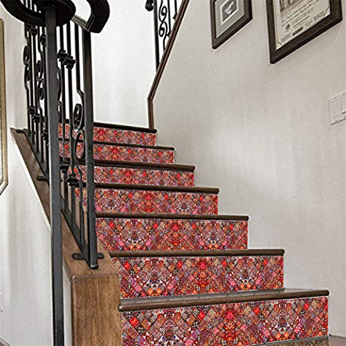Wallpaper Vinyl Sticker Strips (Indian Patchwork Style) for Stair Risers/ Stair Steps / Wall Baseboard - Peel and Stick - Self Adhesive - Home Decor DIY - Pack of 5 Strips (Step Height 6.5' inch)
