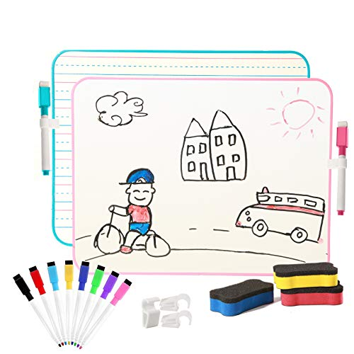 AYIYUN Kleine weiße Tafel zum Löschen mit Linien für Kinder, Lern-Mini-Whiteboard, tragbar für Kinder, Schüler und Klassenzimmer, 2er Pack
