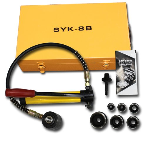 WEIMALL 手動油圧式パンチャー 手動 油圧パンチ シリンダー能力 10t ダイス6個セット 専用ケース付