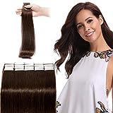 Extension Biadesivo Capelli Veri Adesive Remy Human Hair Tape in Estensioni 20Fasce Riutilizzabili Invisibili Naturali Umani Lisci (60cm 50g 2 Marrone Scuro)
