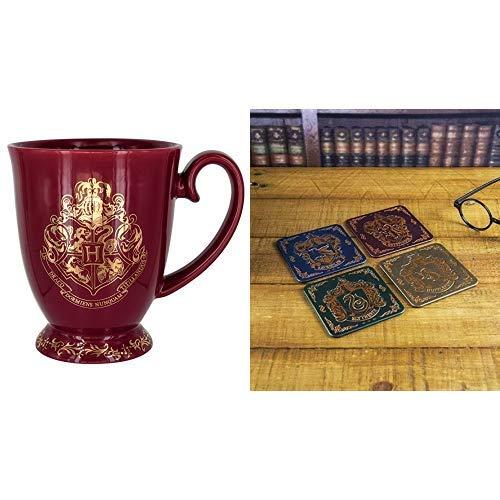 HARRY POTTER Hogwarts Tasse, Keramik, Mehrfarbig, 9 x 12 x 11 cm & HARRY POTTER Hogwarts Wappen Untersetzer aus Weißblech, Mehrfarbig, 1 x 9 x 9 cm