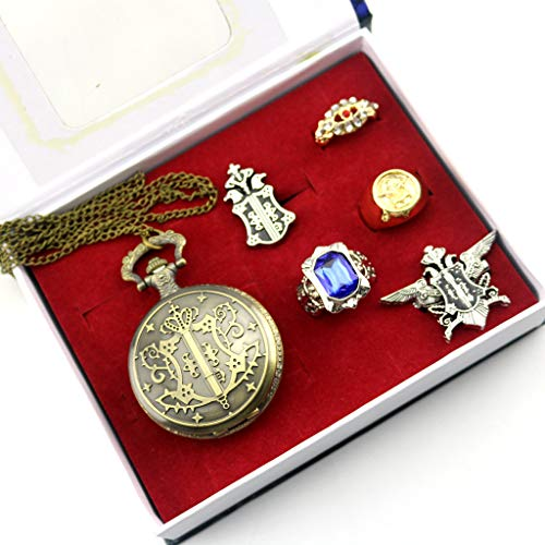 6 stks / partij Kuroshitsuji Black Butler Shire Steward Eagle logo Zakhorloge Ketting Badge Ring Set