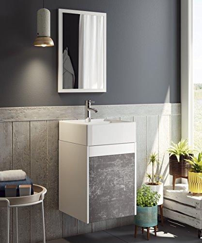 Abitti Mueble para baño Aseo con Espejo y Lavabo ceramico Incluido, en Color Blanco y Pizarra 64x40x40 cm