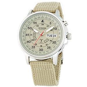 [ラドウェザー] 電波ソーラー腕時計 メンズ 100m防水 腕時計 lad017 (ベージュ)