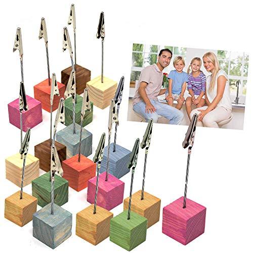 18er Set Fotohalter-Ständer und Fotogeschenk Würfel – Holz-Würfel für Memo-Clips und Notiz-Halter