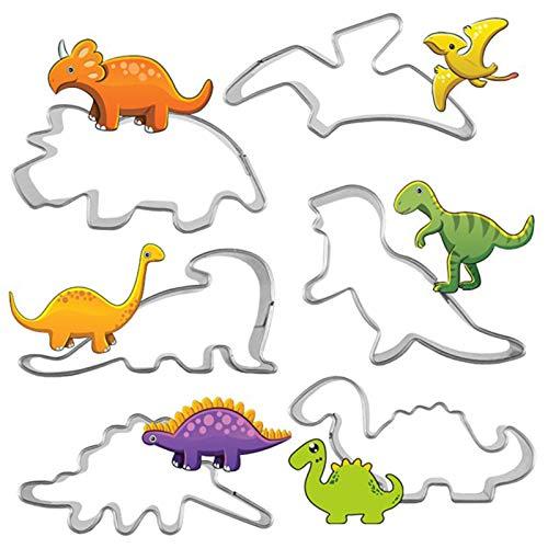 Juego de 6 cortadores de galletas de dinosaurios para niños, de acero inoxidable, moldes de galletas para fondant, pasta de azúcar y pastelería, decoración de pasteles de animales