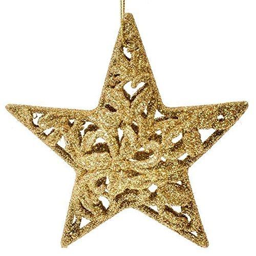 SSITG 4 x briljant goud kerstster kerstboomballen boomversiering kerstdecoratie