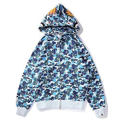 Shark Jaw Camo - Felpa con cappuccio da donna, a maniche lunghe, con cerniera, in cotone, girocollo, con tasca, blu, taglia 3XL